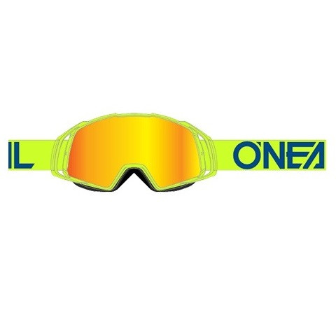 B20 Flat Goggle - neon yellow - Glass radium red