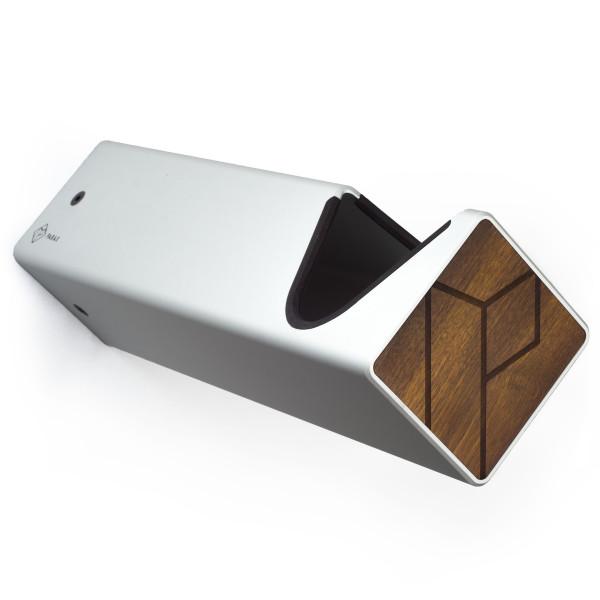 D-Rack wall mount - L - silver - dark wood front